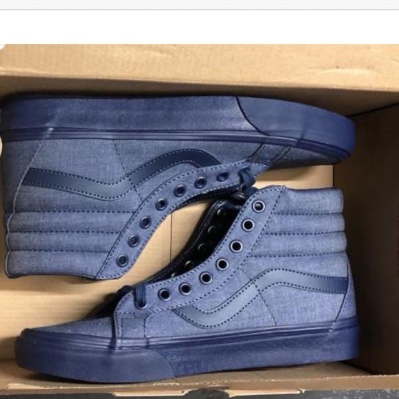 7ec42b5c01 Vans Sk8 Hi Reissue Mono Chambray Navy Shoes